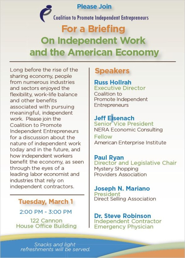 Coalition Hosts Briefing on Independent Work